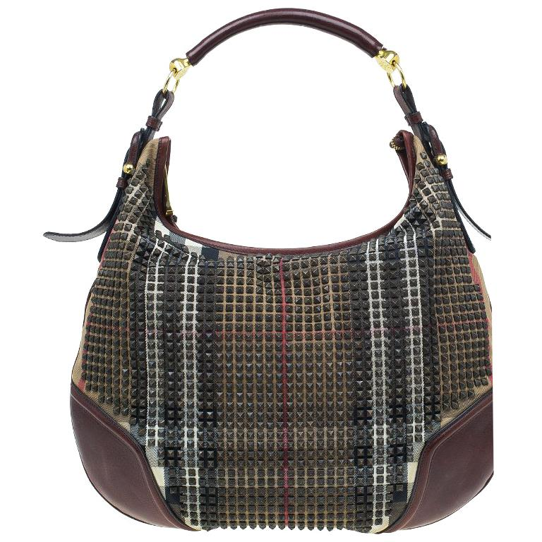 1819a92b35 Burberry Nova Check Canvas and Leather Studded Hoxton Hobo For Sale ...