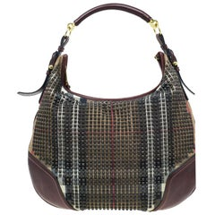 Burberry Nova Check Canvas and Leather Studded Hoxton Hobo