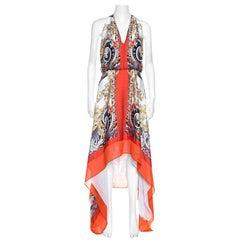 Versace Colection Multicolor Printed Plunge Neck Handkerchief Hem Detail Dress S