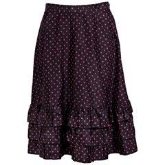 Black & Pink Vintage Yves Saint Laurent Rive Gauche Silk Skirt