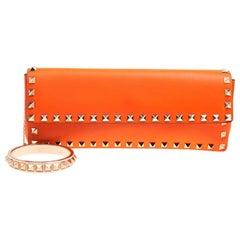 Valentino Neon Orange Leather Rockstud Bangle Clutch