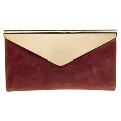 Jimmy Choo Burgundy Shimmering Leather Charlize Clutch