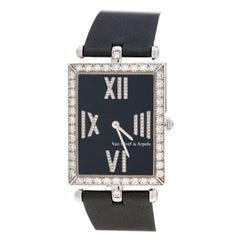 Van Cleef & Arpels Black 18K Gold Diamonds  Rectangular Women Wristwatch 27mm