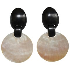 Monies Mother of Pearl and Ebony Wood Disc Clip Earrings