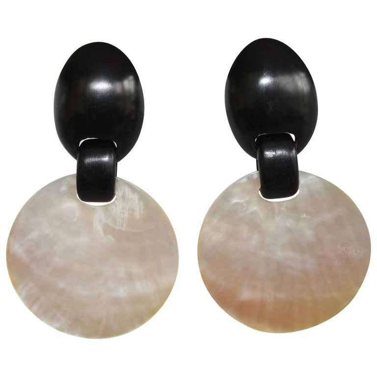 Monies Mother of Pearl and Ebony Wood Disc Clip Earrings For Sale