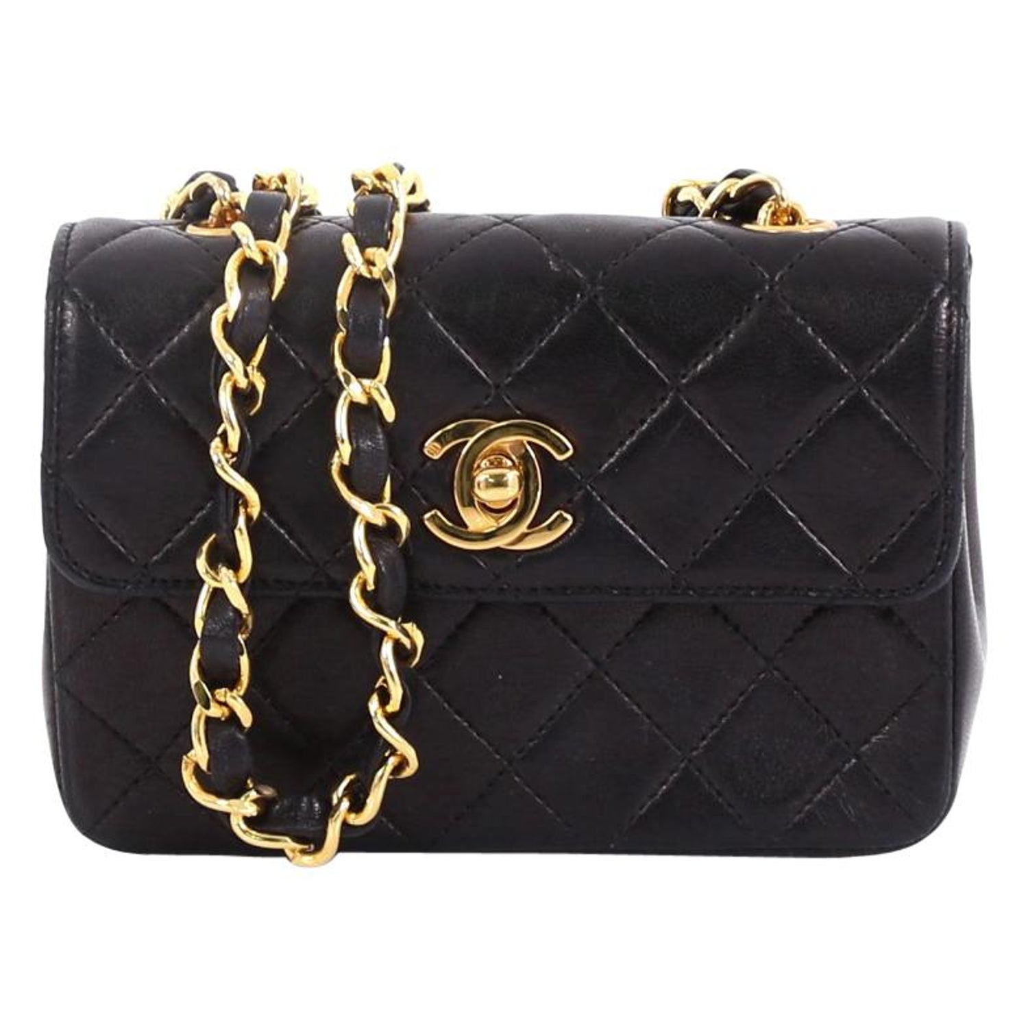 68ffc12d24a8 Chanel Vintage CC Chain Flap Bag Quilted Leather Extra Mini at 1stdibs