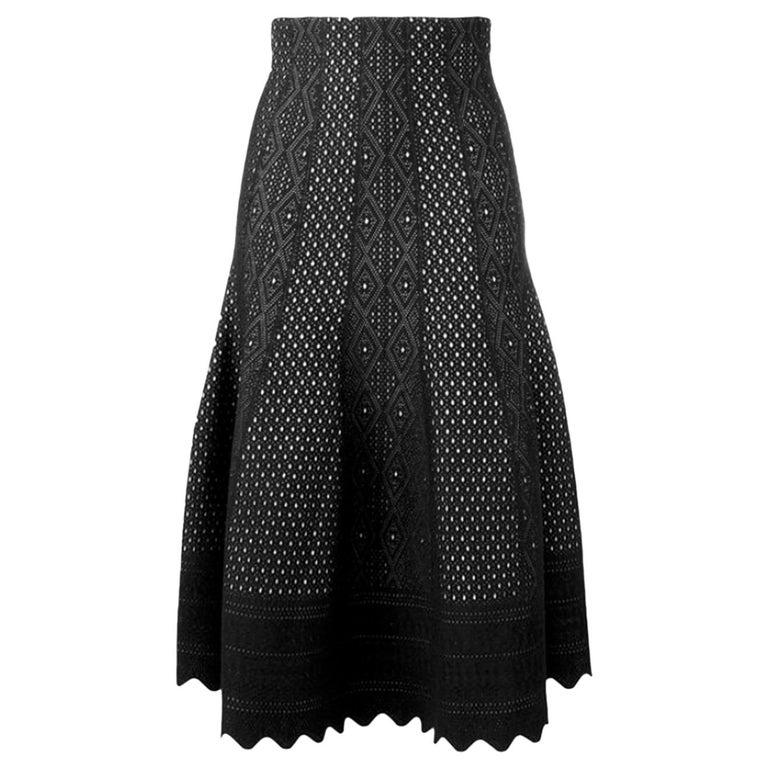 88f541cde Alexander McQueen Laser-Cut Knitted Midi Skirt at 1stdibs