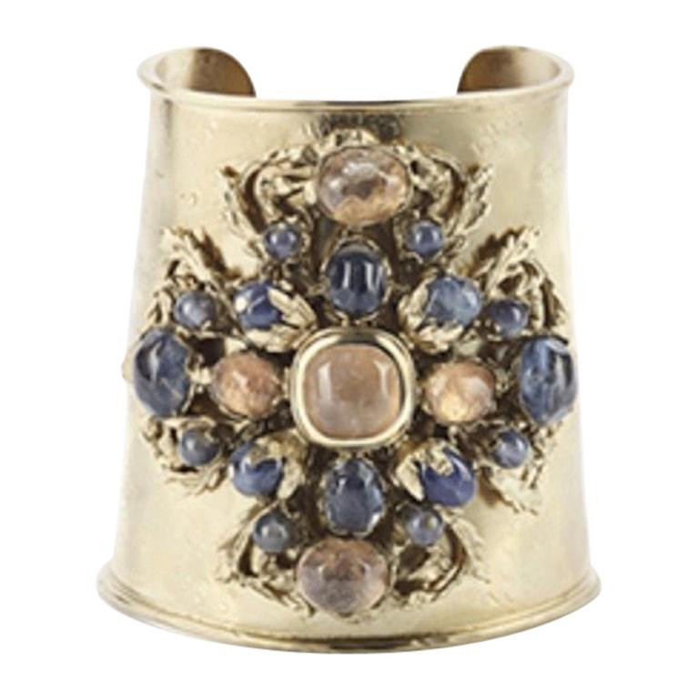 Goossens Paris Iolite and Rock Crystal Cuff For Sale