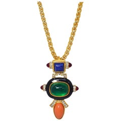 KJL Kenneth Jay Lane Art Deco Cabochon & Crystal Pendant Necklace on Gold Chain