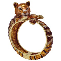"Jay Strongwater ""Call of the Wild"" Tiger Enamel & Crystal Hinge Bracelet in Gold"