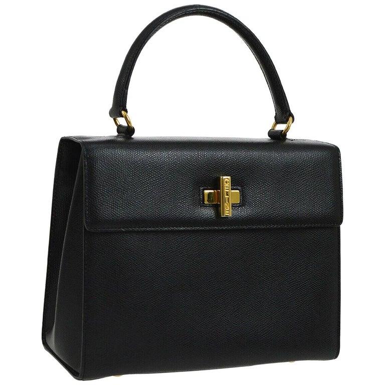 1bcf7f7907ef Celine Leather Gold Kelly Style Evening Top Handle Satchel Shoulder Flap Bag  For Sale