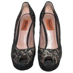 fbcac83065f Missoni Nude Satin   Black Metallic Lace Peep Toe Heels
