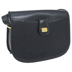 Celine Navy Leather Gold Horsebit Box Saddle Shoulder Flap Bag