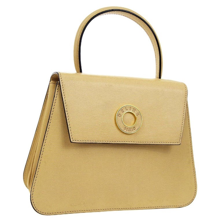 4540eee21613 Celine Nude Tan Beige Leather Gold Top Handle Satchel Kelly Evening Flap Bag  For Sale