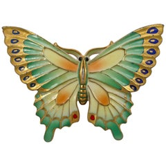 Toshikane Japan Porcelain Multi Coloured Butterfly Brooch with Silver Tone Back