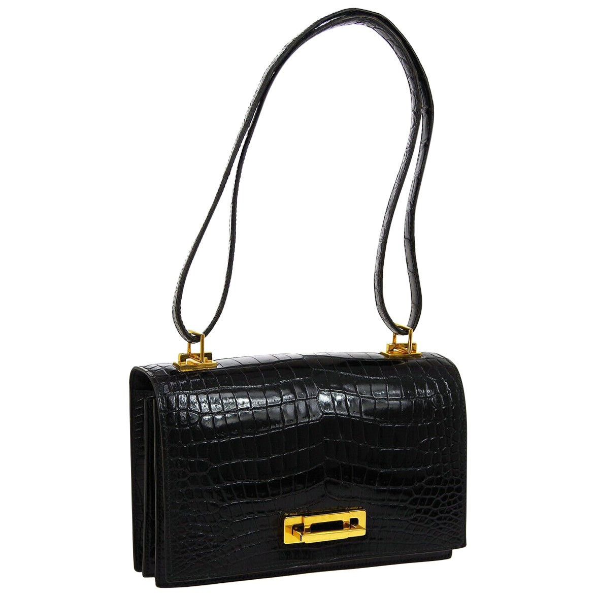 Hermes Rare Black Crocodile Gold Evening Top Handle Satchel Shoulder Flap Bag