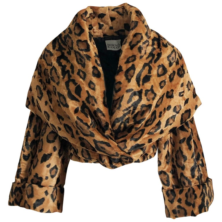 Rare Norma Kamali Cropped Leopard Jacket with Shawl Collar M Vintage  For Sale