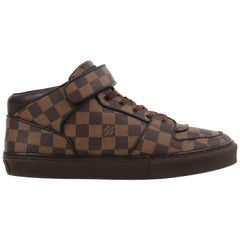 "LOUIS VUITTON ""Acapulco Damier"" Ebene Lace-Up Strap Mid Top Sneakers"