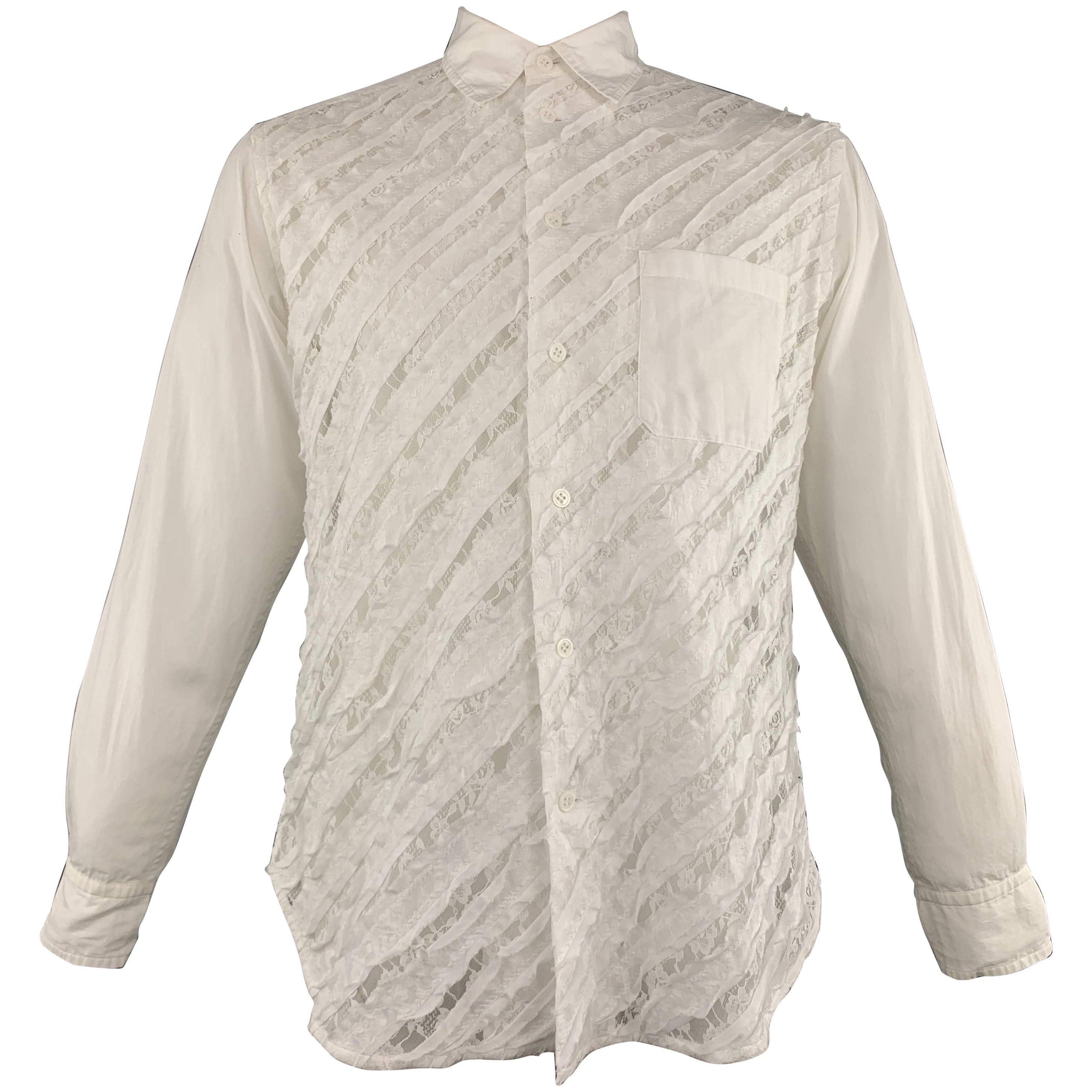 fdf5cd36c YOHJI YAMAMOTO Size M White Mixed Fabrics Cotton Button Up Long Sleeve Shirt  at 1stdibs