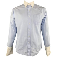 THOM BROWNE Size XL Light Blue Solid Cotton French Cuff Long Sleeve Shirt