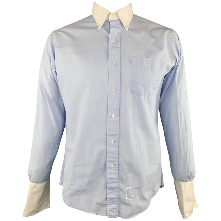 b6e0bfb41a059 THOM BROWNE Size XL Light Blue Solid Cotton French Cuff Long Sleeve Shirt