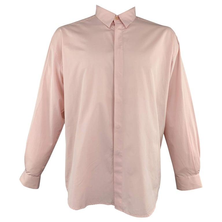 GIANNI VERSACE Size XL Light Green Cotton Hidden Buttons Long Sleeve Shirt For Sale