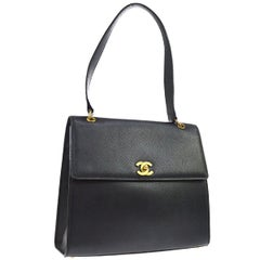 Chanel Black Leather Gold Evening Top Handle Satchel ShoulderFlap Bag