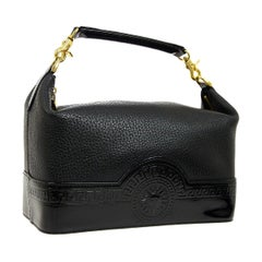 Versace Black Leather Patent Gold Top Handle Satchel Travel Cosmetic Vanity Bag