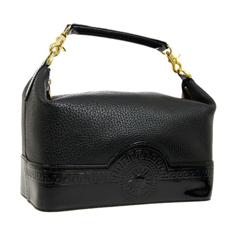 a9f4891a7ad Versace Black Leather Patent Gold Top Handle Satchel Travel Cosmetic Vanity  Bag For Sale