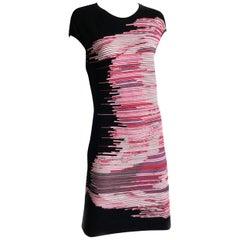 Escada Black Knit Dress Fantasy Stripe Cap Sleeves M