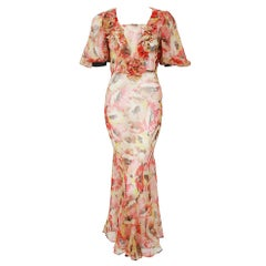 1930's Poppies Floral-Garden Print Sheer Chiffon Puff Sleeve Bias-Cut Gown