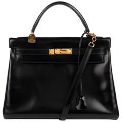 Hermes Kelly 32cm Black Box Leather Handbag