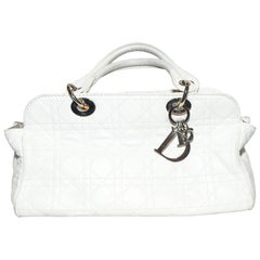 Christian Dior White Leather Lady Dior Top Handle Bag