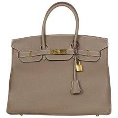 Hermes NEW IN BOX 2017 Etoupe Grey Togo Leather 35cm Birkin Bag GHW