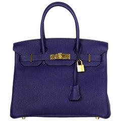 Hermes NEW IN BOX 2018 Bleu Blue Encre Togo Leather 30cm Birkin Bag w/ GHW
