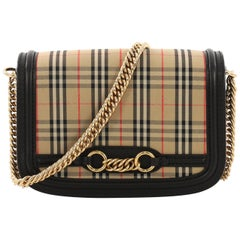 Burberry Link Flap Bag 1983 Knight Check Canvas Small