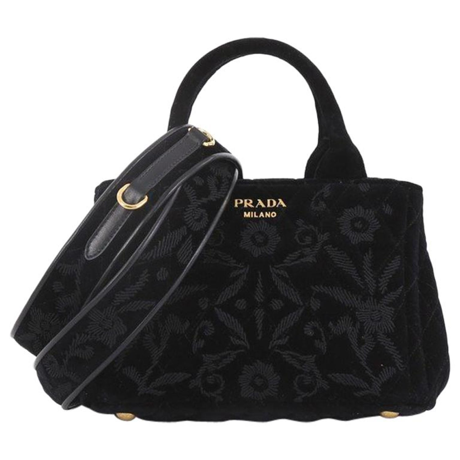d91443b04b46 Prada Convertible Open Tote Quilted Embroidered Velvet Mini at 1stdibs