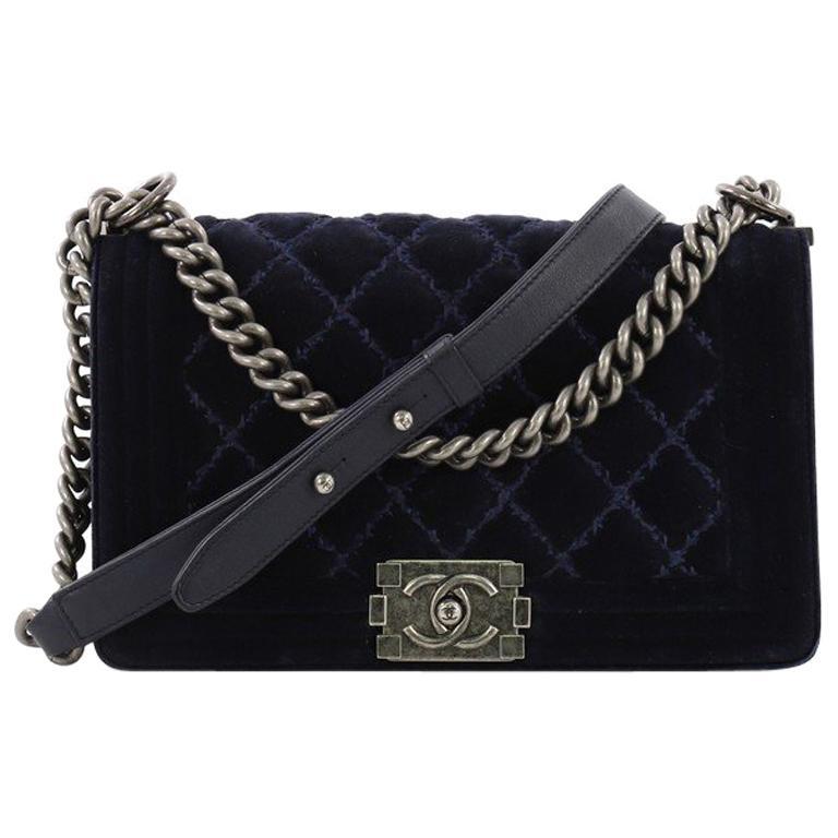 deb7be92c45d98 Chanel Boy Flap Bag Quilted Velvet Old Medium For Sale at 1stdibs