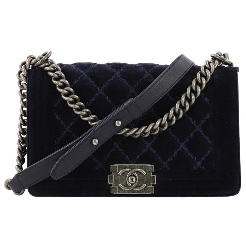 6c6f40064042 Chanel Boy Flap Bag Quilted Velvet Old Medium For Sale at 1stdibs