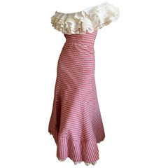 1930's Sweet Stripe Day Dress with Lace Bust and Hem