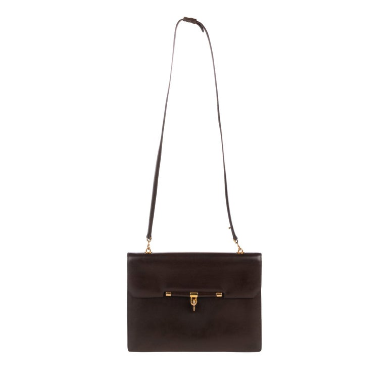 Hermes Palonnier Brown Box Leather Crossbody Bag For Sale