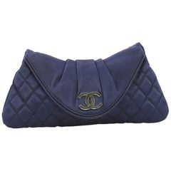 Chanel CC Half Moon Clutch Quilted Satin Small