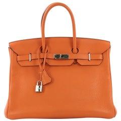 Hermes Birkin Handbag Orange H Clemence with Palladium Hardware 35