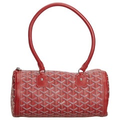 Goyard Red Coated Canvas Fabric Goyardine Kios Shoulder Bag France w/ Dust Bag