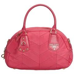 Prada Pink Nylon Fabric Quilted Handbag Italy