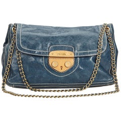 c1234edb1d1388 Prada Blue Navy Leather Chain Shoulder Bag Italy w/ Dust BagAuthenticity  Card