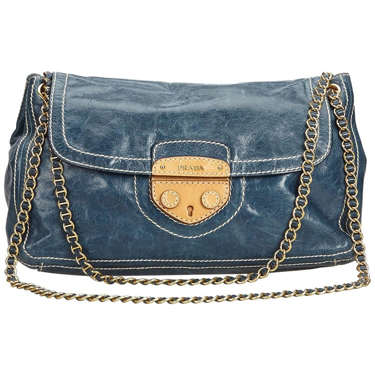 51528201c2cbb7 Prada Blue Navy Leather Chain Shoulder Bag Italy w/ Dust BagAuthenticity  Card For Sale