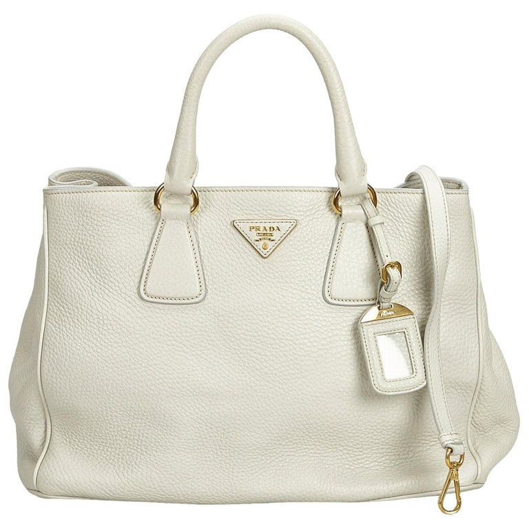 1537d33e4d3802 Prada White Ivory Leather Vitello Daino Tote Bag Italy w/ Dust Bag For Sale