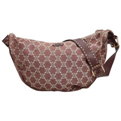 Celine Brown Denim Fabric Macadam Hobo Bag France