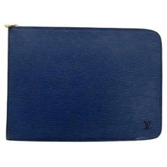 Louis Vuitton Poche Epi Documents Zip Document Case 867202 Blue Leather Clutch